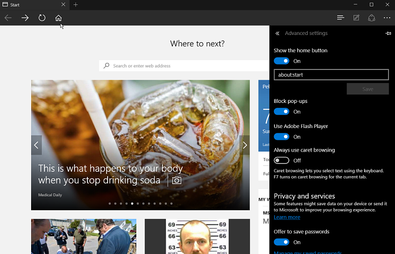 how to add homepage on edge