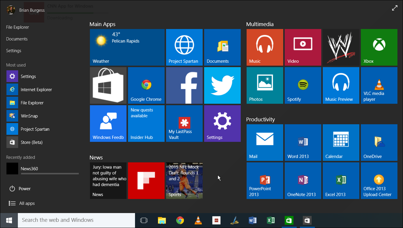 The Start menu has a black theme and is now resizable. Also, the Power button has been moved to the lower left corner.
