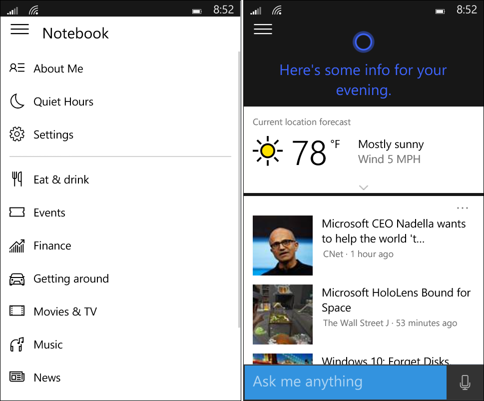 "Cortana has received some improvements with its Notebook in ""its final stage"" with a combined Profile and Settings experience."