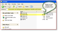 Clear Outlook Auto Complete Cache - Windows XP