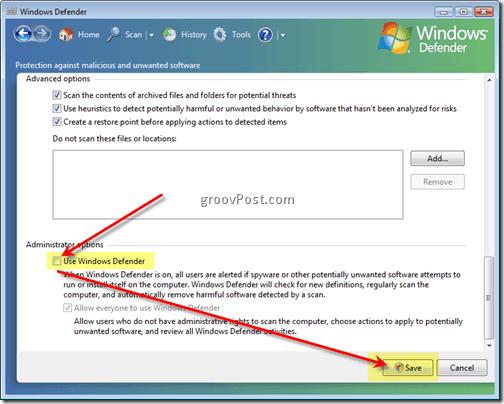 Disable Windows Defender Vista