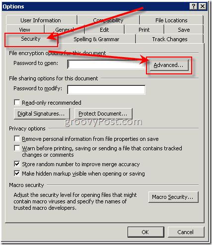 Password protect word 2003