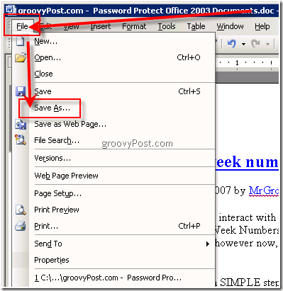 How-To Password Protect Microsoft Office 2003 Documents