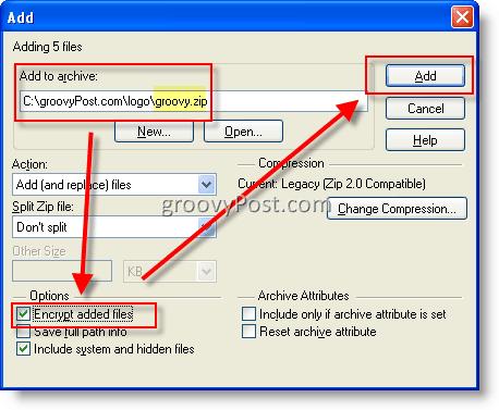 Encrypt files using WinZip AES