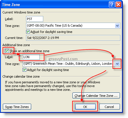 how to set timezone in outlook 2007