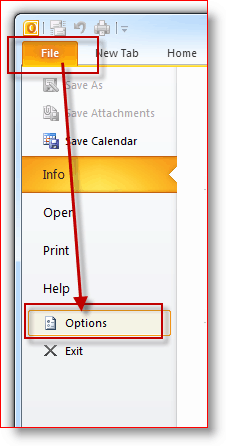 Outlook 2010 File, Options Menu