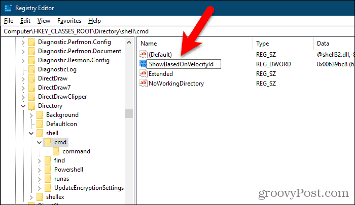 Rename the HideBasedOnVelocityId value to ShowBasedOnVelocityId in the Windows Registry Editor