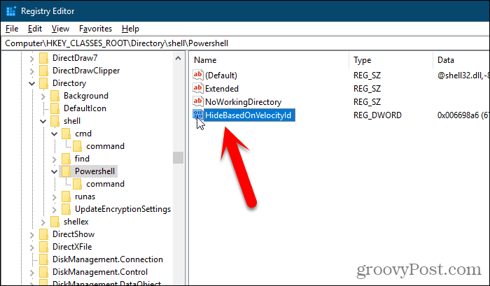 Rename ShowBasedOnVelocityId key in Windows Registry Editor