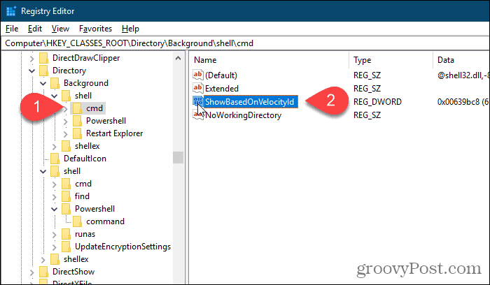 Rename Background cmd HideBasedOnVelocityId value in the Windows Registry Editor