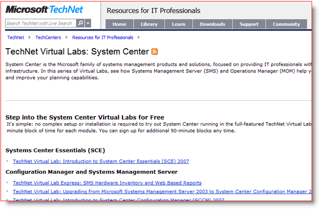 Microsoft TechNet Virtual Labs