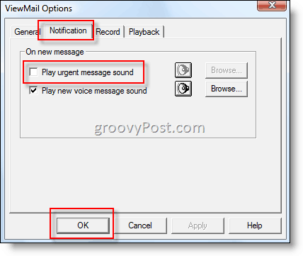 Disable ViewMail Email Notification Alert :: groovyPost.com