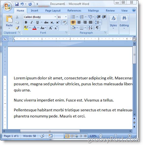 Insert Loren Ipsum Text Into Microsoft Word 2007 :: groovyPost.com