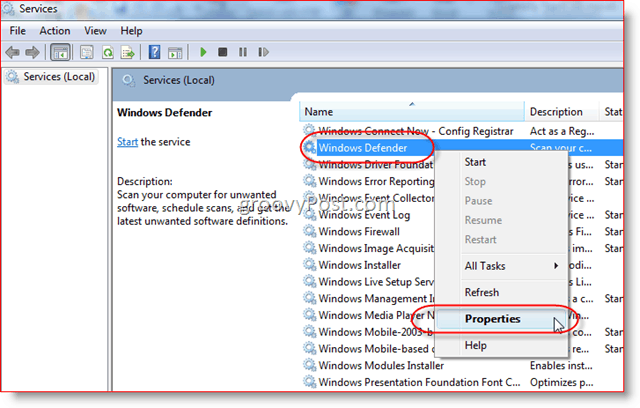 Disable Windows Defender Service in Windows Server 2008 or Vista
