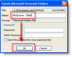 Name your .PST file, select a password and click OK image :: groovyPost.com