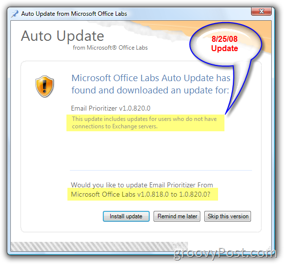 Microsoft Office Labs Auto Update Screenshot :: groovyPost.com