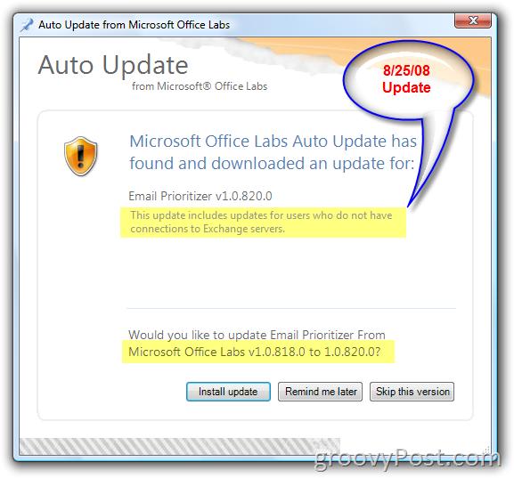 Microsoft Office Labs Auto Update Screenshot :: groovyPost.com