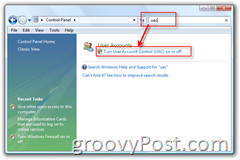 Control Panel - Disable User Account Control (UAC) for Windows Vista