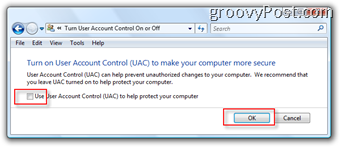 Radio Box to Disable User Account Control (UAC) for Windows Vista