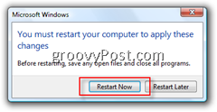 Request to Reboot after User Account Control (UAC) for Windows Vista has been Disabled