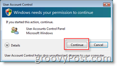 User Account Control (UAC) for Windows Vista Confirmation Box