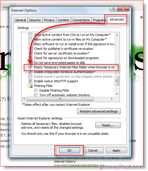 Automatically Clear Internet Explorer 9 or 10 Cache and