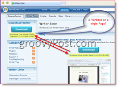 Image of Windows Live Writer Blog showing 2 Differet Builds available for Download