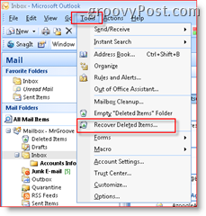 Displaying Recover Deleted Items feature in the Inbox of Outlook