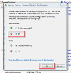Turn off IE Enhanced Security Configuration (IE ESC) Radio Options
