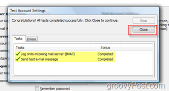Test GMAIL IMAP Account Settings in outlook 2007
