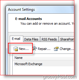 Create new Mail Account in Outlook 2007