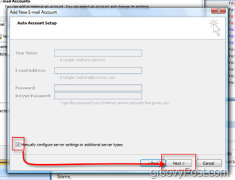 Create new Mail Account in Outlook 2007 Manually