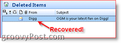 Permanently Deleted Email showing it was recovered in Deleted Items Folder