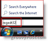 Windows Vista Launch regedt32 from Search Bar