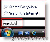 Windows Vista Launch regedt32 from Search Bar