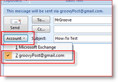 Choose Send Account in Outlook 2007