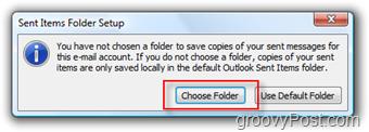 Setup SEND Mail folder for iMAP Account in Outlook 2007