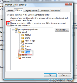 Setup SEND Mail folder for iMAP Account in Outlook 2007 :: Choose Trash Folder