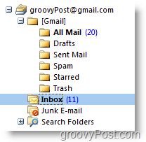 New iMAP GMAIL Account Listing in Outlook Navigation Toolbar