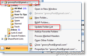 Update iMAP GMAIL Folder List in Outlook 2007 Navigation Toolbar