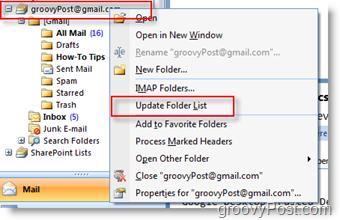 Update iMAP GMAIL Folder List in Outlook 2007 Navigation Toolbar