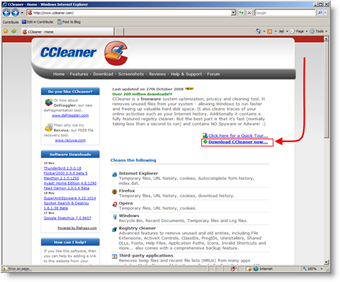 Download CCleaner to Securely Wipe / Delete files and cache from windows