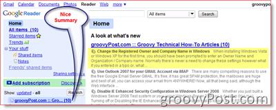 Google Reader RSS Feed Summary