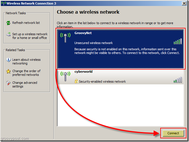Windows XP Menu to Choose a Wireless Network Screenshot :: groovyPost.com
