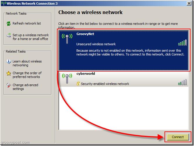 Windows XP Menu to Choose a Wireless Network Screenshot :: groovyPost.com