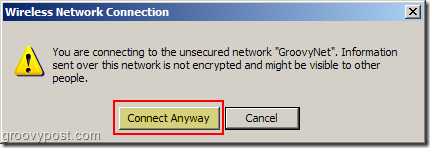 Windows XP Wireless Network Connection unsecured network warning :: groovyPost.com