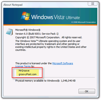 Display Owner and Organization for Windows Vista