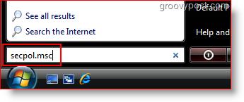 Launch Secpol.msc from Windows Vista Seach Bar