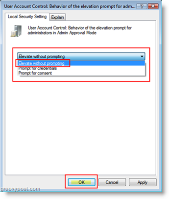 User Account Control: Behavior of the elevation prompt for Admins set Elevated without Prompting