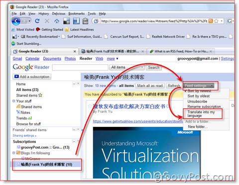 Google Reader RSS Translation Feature :: groovyPost.com