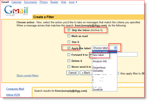 Create GMail Filter Actions and Assign Label